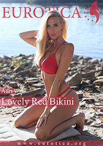 Adri usually takes a swim completely naked so she begins to remove her lovely red bikini.