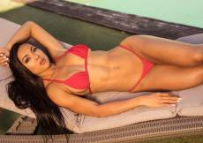 This hot summer day just got a whole lot hotter when Irene untied her bikini at the poolside.