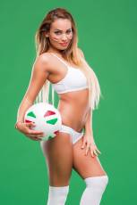 We'll show you how a really hot fan cheers for her national team.